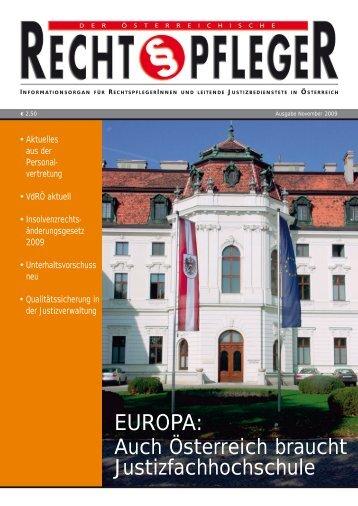 Österreichischer Rechtspfleger Nov. 2009 - ZA Justiz