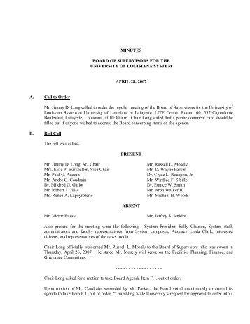 BOARD MINUTES 4-27-07 - University of Louisiana System