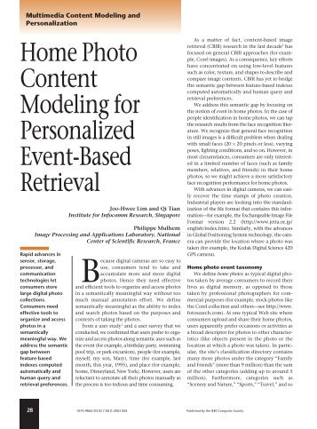 Home photo content modeling for personalized event-based retrieval