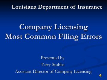 Company Licensing Most Common Filing Errors - Louisiana ...