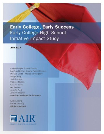 Early College High School Initiative Impact Study - South Texas ...