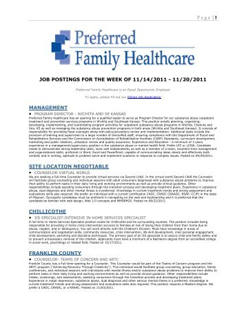 Page | 1 JOB POSTINGS FOR THE WEEK OF 11/14/2011 - 11/20 ...