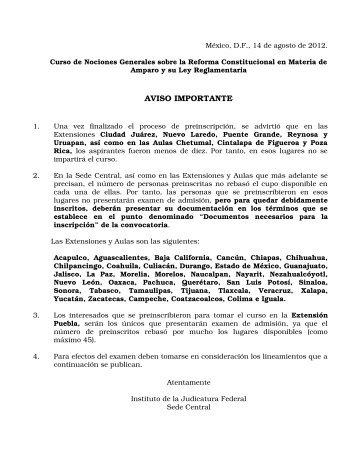 AVISO IMPORTANTE - Instituto de la Judicatura Federal