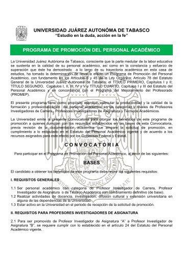 programa de promoción del personal académico - Universidad ...