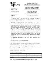 Affectation comptable du résultat de l'exercice 2012 - CCPRO