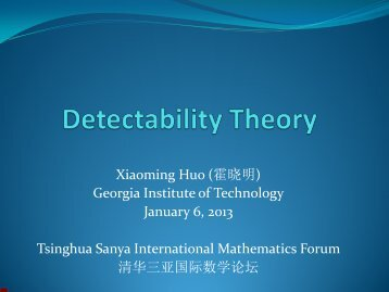 Detectability and Related Theorems