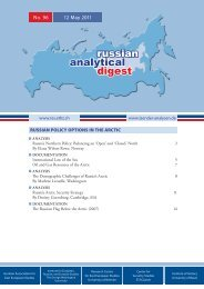Russian Policy Options in the Arctic - Center for Security Studies (CSS)