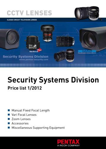 security systems division Price list 1/2012 - Security Systems - Pentax