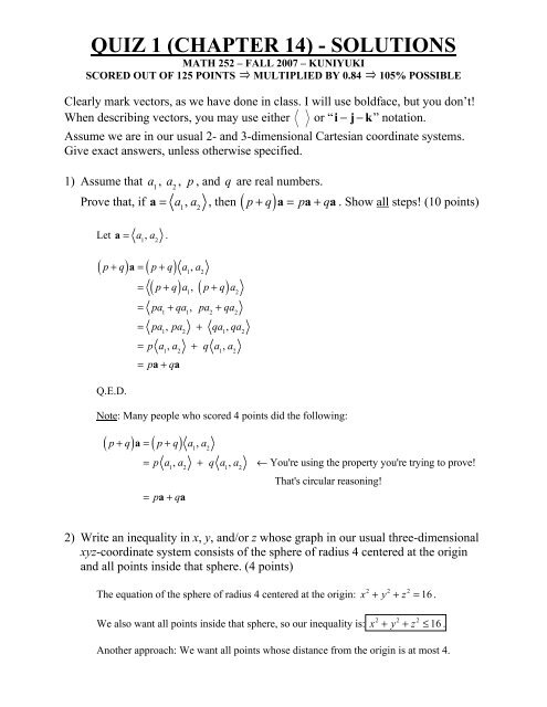 QUIZ 1 (CHAPTER 14) - SOLUTIONS - Math Notes and Math Tests