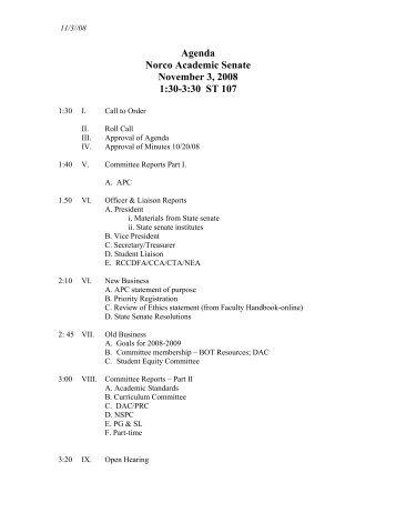 Agenda Norco Academic Senate November 3, 2008 1:30-3:30 ST 107