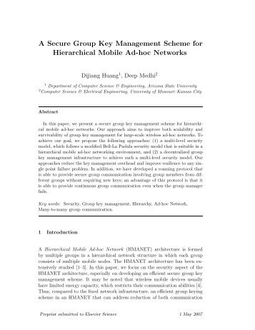 A Secure Group Key Management Scheme for Hierarchical Mobile ...