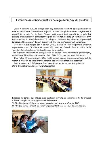 exercice départemental PPMS au collège Jean Zay du Houlme
