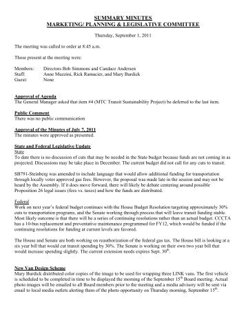 Approval of Minutes of September 1, 2011 Meeting