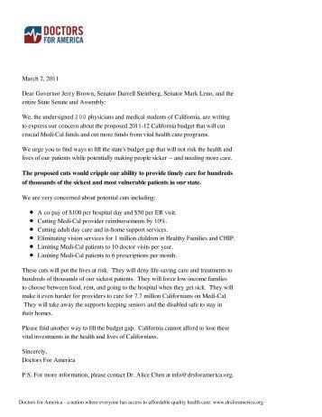 March 2, 2011 Dear Governor Jerry Brown, Senator Darrell ...