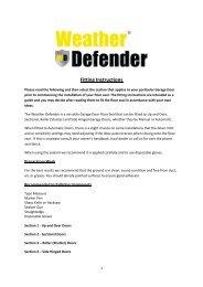 Weather Defender fitting instructions - Sparesmaster