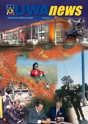 22 Aug: Vol 24, #12 - UWA News staff magazine - The University of ...