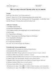 METALLORGANISCHE CHEMIE (SPOC III; WS 2008/09)