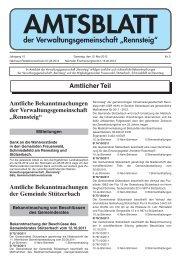 """der Verwaltungsgemeinschaft """"Rennsteig"""" - VG Rennsteig"""