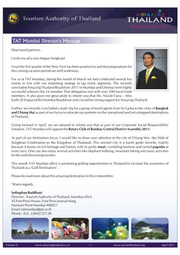 TAT Newsletter April 2011 - Thai Embassy and Consulates
