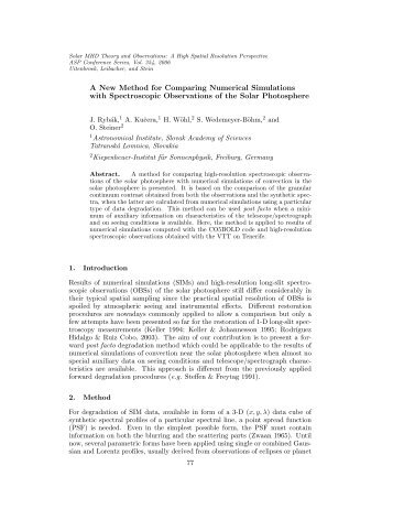 A New Method for Comparing Numerical Simulations with ...