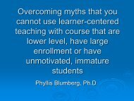 Overcoming myths or misconceptions about learner-centered teaching