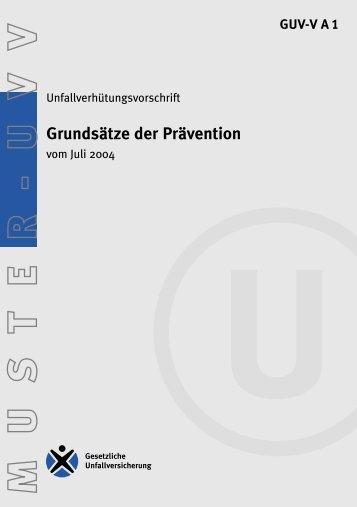 GUV-V A1 - Regelwerk des Bundesverbandes der Unfallkassen