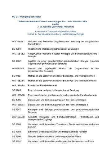 PD Dr. Wolfgang Schrödter Wissenschaftliche Lehrveranstaltungen ...