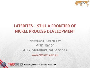 laterites - ALTA Metallurgical Services