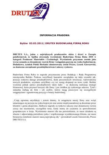 INFORMACJA PRASOWA Bytów 03.03.2011  DRUTEX ...