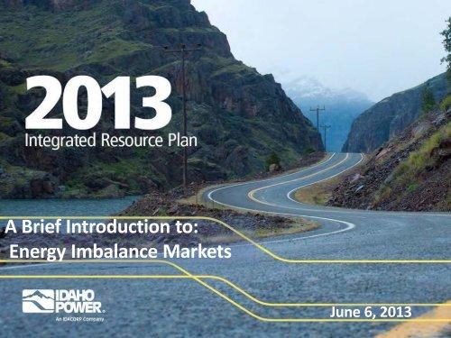 Energy Imbalance Markets - Idaho Power