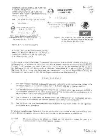 I) Tarifa y Reglas de Aplicación (Pilotaje) - Puerto de Altamira