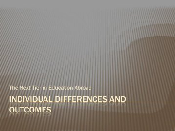 Individual Differences and Outcomes - Council on International ...