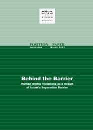 B'Tselem Report - Behind the Barrier: Human Rights ... - Ocha