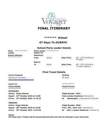 final itinerary - School Travel