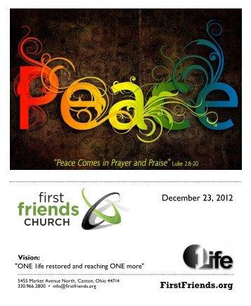 FirstFriends.org December 23, 2012 - First Friends Church
