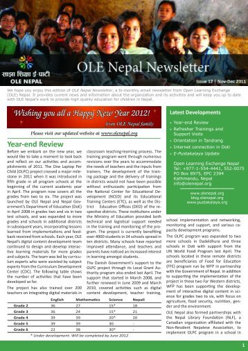 Download November-December 2011 Newsletter - OLE Nepal