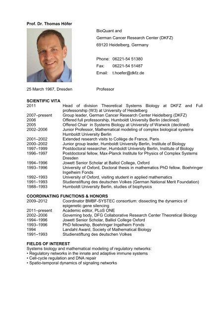 Prof. Dr. Thomas Höfer BioQuant and German ... - CellNetworks