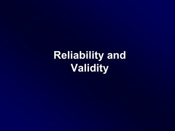 Reliability, Validity, and Criteria