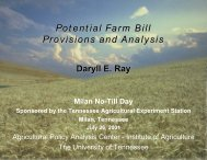 Potential Farm Bill Provisions and Analysis - Agricultural Policy ...