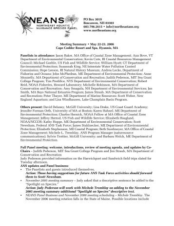 Spring 2006 - Northeast Aquatic Nuisance Species Panel