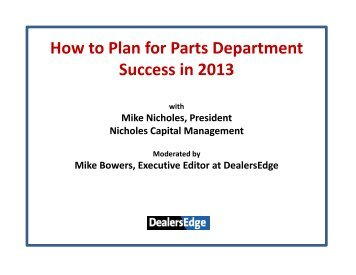 How to Plan for Parts Department Success in 2013 - DealersEdge