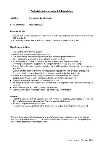 Job Description  Ideal Care Homes