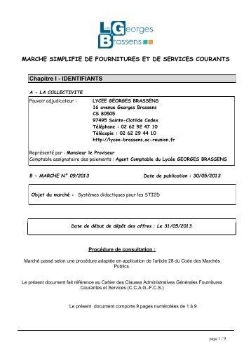 MAPA N°09-2013 - Lycée Georges Brassens
