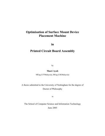 Optimisation of Surface Mount Device Placement Machine in Printed ...