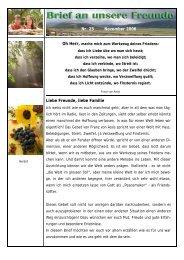 Liebe Freunde, liebe Familie Nr. 25 November 2006 - Urs & Claudia