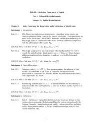 Rules Governing the Registration and Certification of Vital Events