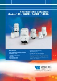 Thermostatic actuators Series 148 - 148SD - 148CD - Watts Industries