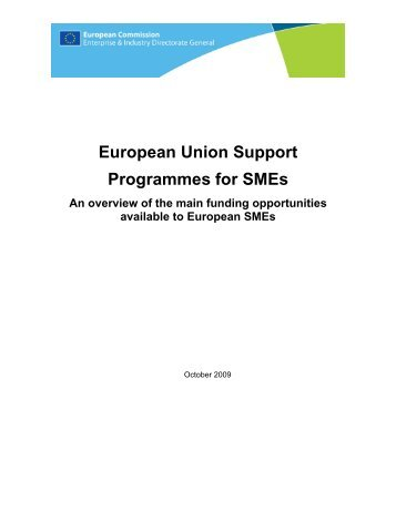 European Union Support Programmes for SMEs An overview of the ...