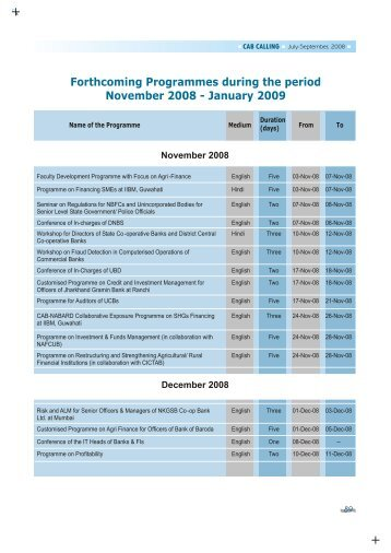 Forthcoming Programmes - CAB