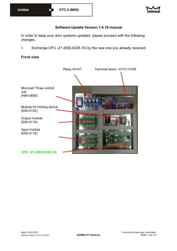 Software-Update Version 1.0.10 manual In order to keep your door ...